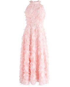 Dancing Feathers Tassel Halter Neck Maxi Dress in Pink