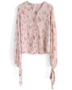 Soft Flower V-Neck Chiffon Top in Nude Pink