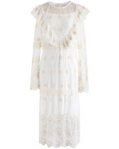 Dreamlike Romance Crochet Mesh Dress in Ivory