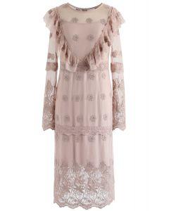 Dreamlike Romance Crochet Mesh Dress in Pink