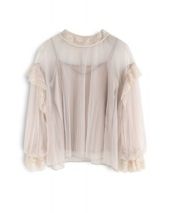 It's About Love Pearls Mesh Top in Nude Pink