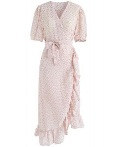 That's A Wrap Floral Midi Dress in Pink