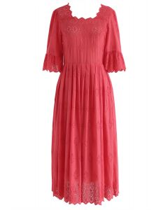 Keep in Simple Eyelet Embroidered Dress in Red