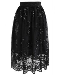 Darling Sequins Mesh Skirt in Black