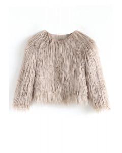 My Chic Faux Fur Coat in Tan For Kids