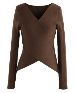 Lust for Freedom Cross Wrap Knit Top in Caramel