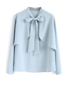 Crush on Casual Bowknot Cape Sleeves Top in Blue