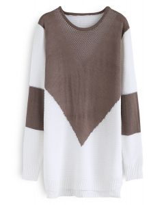 Color Blocking Longline Sweater in Tan