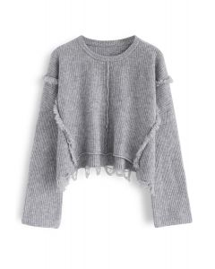 Undeniably Sassy Crop Ribbed Knit Sweater in Grey