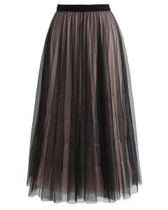 Admired Posture Mesh Tulle Midi Skirt in Black