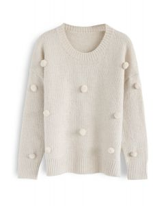 The Pretty One Yarn Balls Sweater in Cream