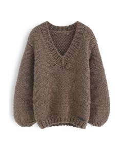 How Deep Is Your Love Hand Knit Chunky Sweater in Brown