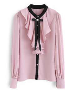 Glamour of Bowknot Ruffle Chiffon Top in Pink