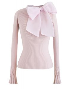 Fancy with Bowknot Knit Top in Pink