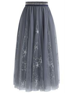 Dazzling Stars Tulle Midi Skirt in Grey