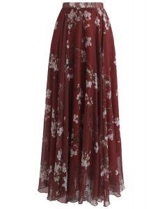 Plum Blossom Watercolor Maxi Skirt in Wine