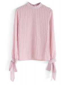 Under My Eyes Bowknot Chiffon Top in Pink