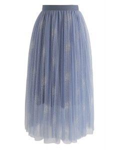 Make It Sparkle Mesh Skirt in Blue