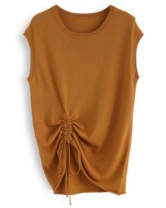 Break Free Drawstring Sleeveless Knit Top in Yellow