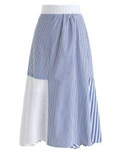 Stripe Vacay A-Line Midi Skirt