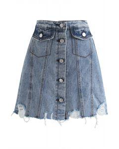 Major Moves Button Down Denim Mini Skirt
