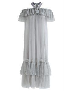 Dolly Grey Halter Off-Shoulder Mesh Dress