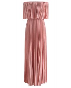 Dancing Till Dawn Off-Shoulder Pleated Maxi Dress in Pink