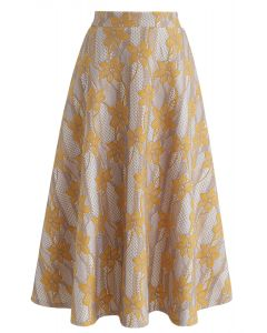 Bauhinia Flowers A-Line Midi Skirt in Yellow