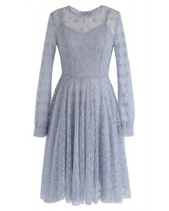 Once Upon a Dream Lace Dress in Dusty Blue