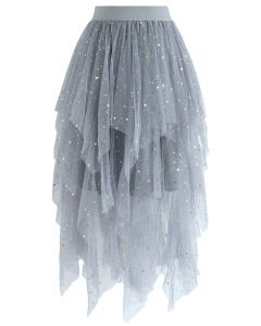 Shooting Stars Asymmetric Tiered Mesh Skirt in Blue