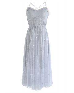Brighter Stars Cross Back Mesh Dress in Grey