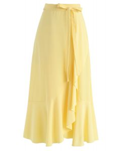 Simple Base Asymmetric Ruffle Midi Skirt in Yellow