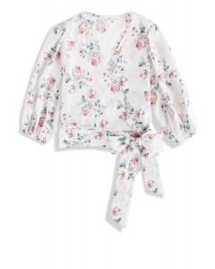 Cheerful Rose Wrapped Top in White