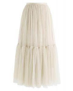 Can't Let Go Mesh Tulle Skirt in Cream