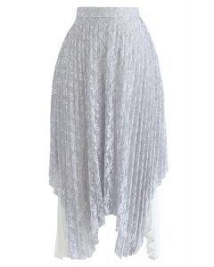 Lacy Romance Asymmetric Midi Skirt in Grey