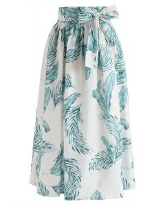 Hands on Me Leaves Printed Midi Skirt in Ivory