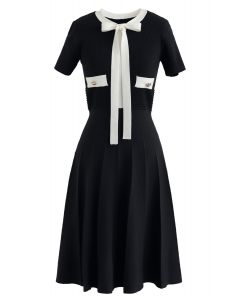 Take A Ride With Me Bowknot Knit Dress in Black