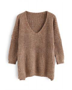 In My World V-Neck Knit Sweater in Caramel