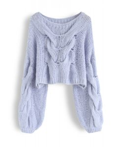 Hand-Knit Puff Sleeves Sweater in Blue