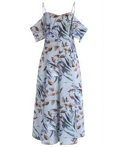 Leaves Print Cold-Shoulder Maxi Dress