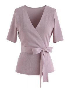 Self-Tied Bowknot Wrapped Knit Top in Pink