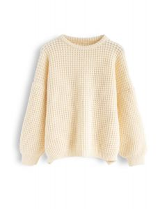 Puff Sleeves Oversize Waffle Knit Sweater in Cream