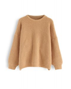 Puff Sleeves Oversize Waffle Knit Sweater in Camel