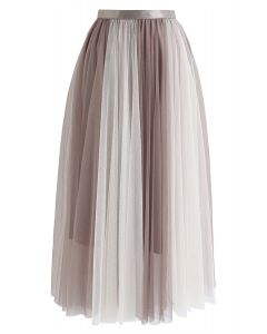 Macaron Color Blocked Mesh Tulle Skirt in Caramel