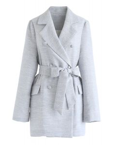 Double-Breasted Belted Tweed Blazer in Baby Blue