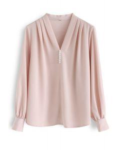 Pearls Trim Satin V-Neck Top in Pink