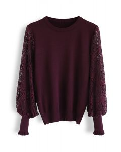 Delicacy Lacy Sleeves Knit Sweater in Wine