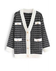 Pockets Button Trim Knit Cardigan in Black