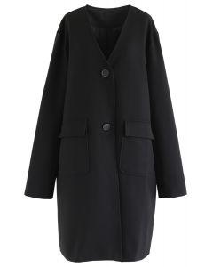 V-Neck Pockets Longline Coat in Black