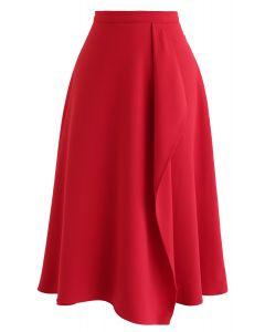 Asymmetric Flap Trim A-Line Midi Skirt in Red